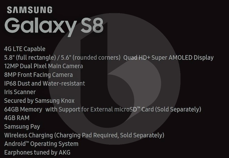 Samsung Galaxy S8 Full Specs Leaked