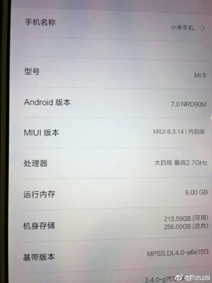Xiaomi Mi6 Specs Leaked
