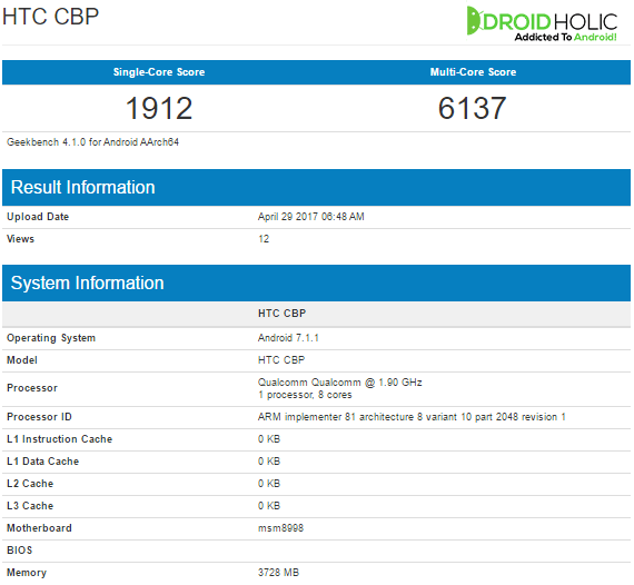HTC U Geekbench