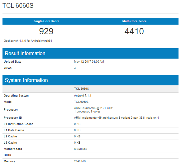 Alcatel Idol 5 Geekbench Listing