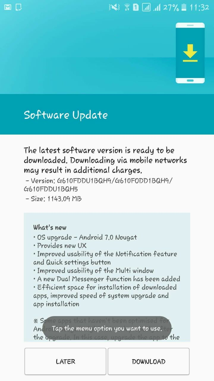 Samsung Galaxy J7 Prime Nougat Update