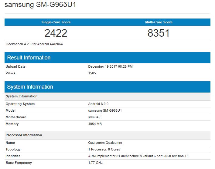 Samsung Galaxy S9+ Snapdragon 845 Geekbench Scores