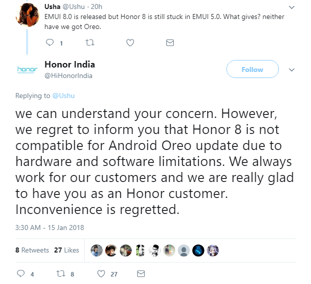 Honor 8 no Oreo Update