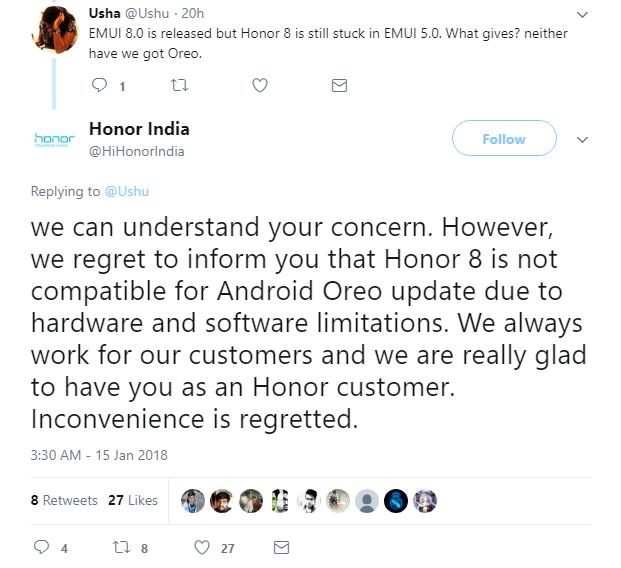 Honor 8 no Oreo Update
