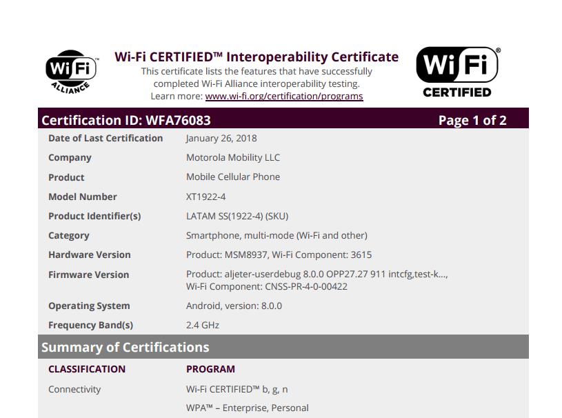 Motorola XT1922 wifi certified
