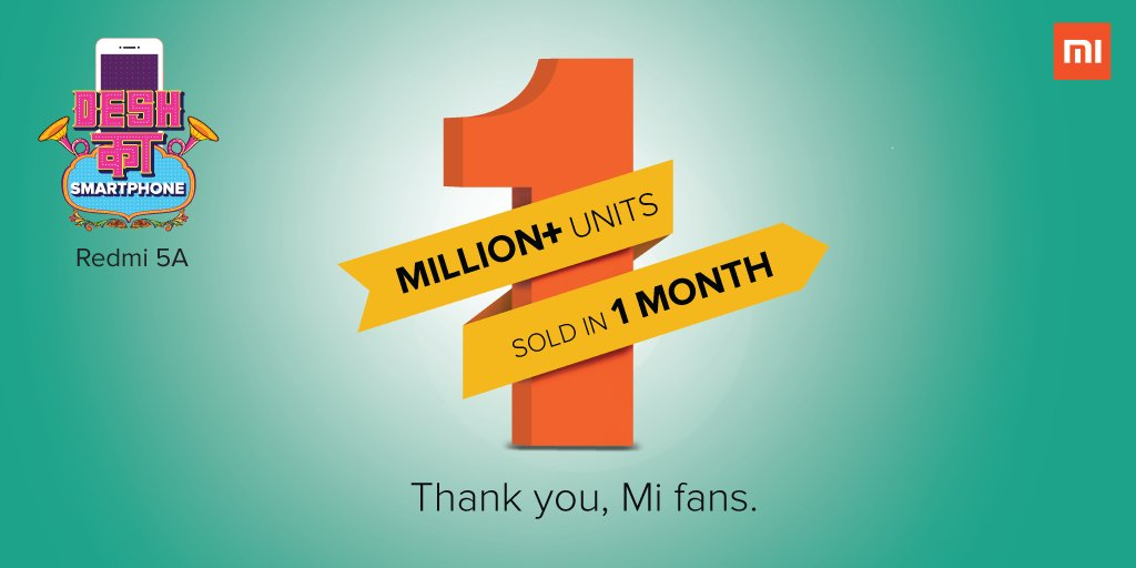 Redmi 5A 1 Million units