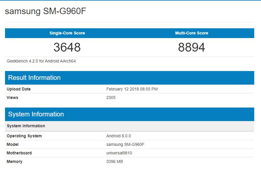 Exynos 9810 Geekbench Score