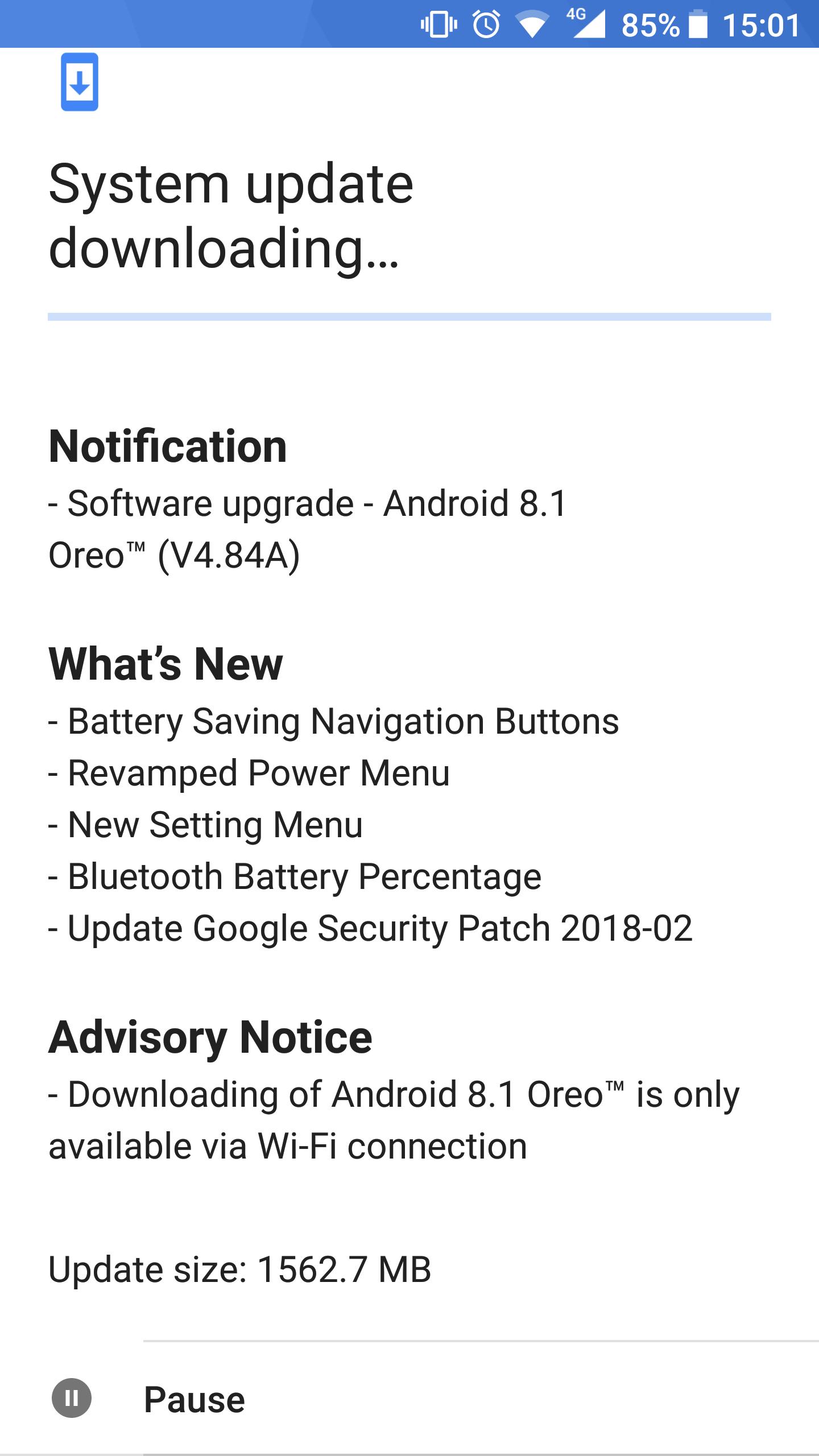 Nokia 8 Android Oreo 8.1 Update