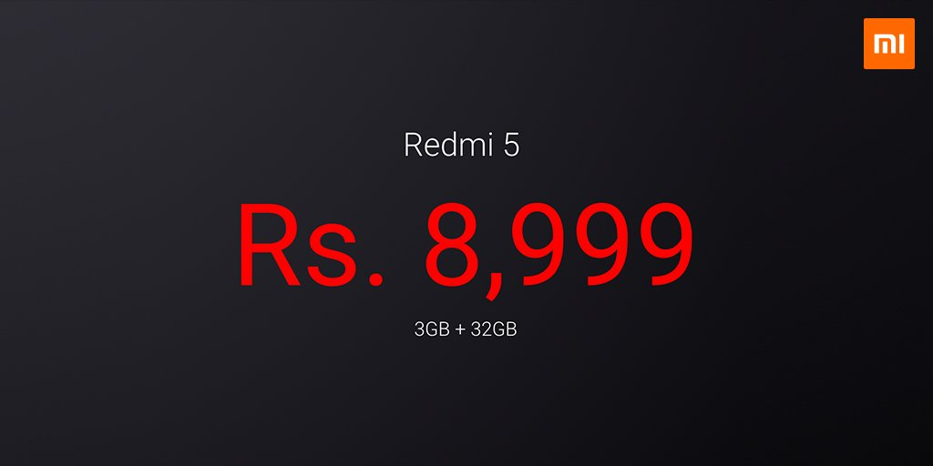 Xiaomi Redmi 5 launched in India in three variants, price starts at ₹7999 7
