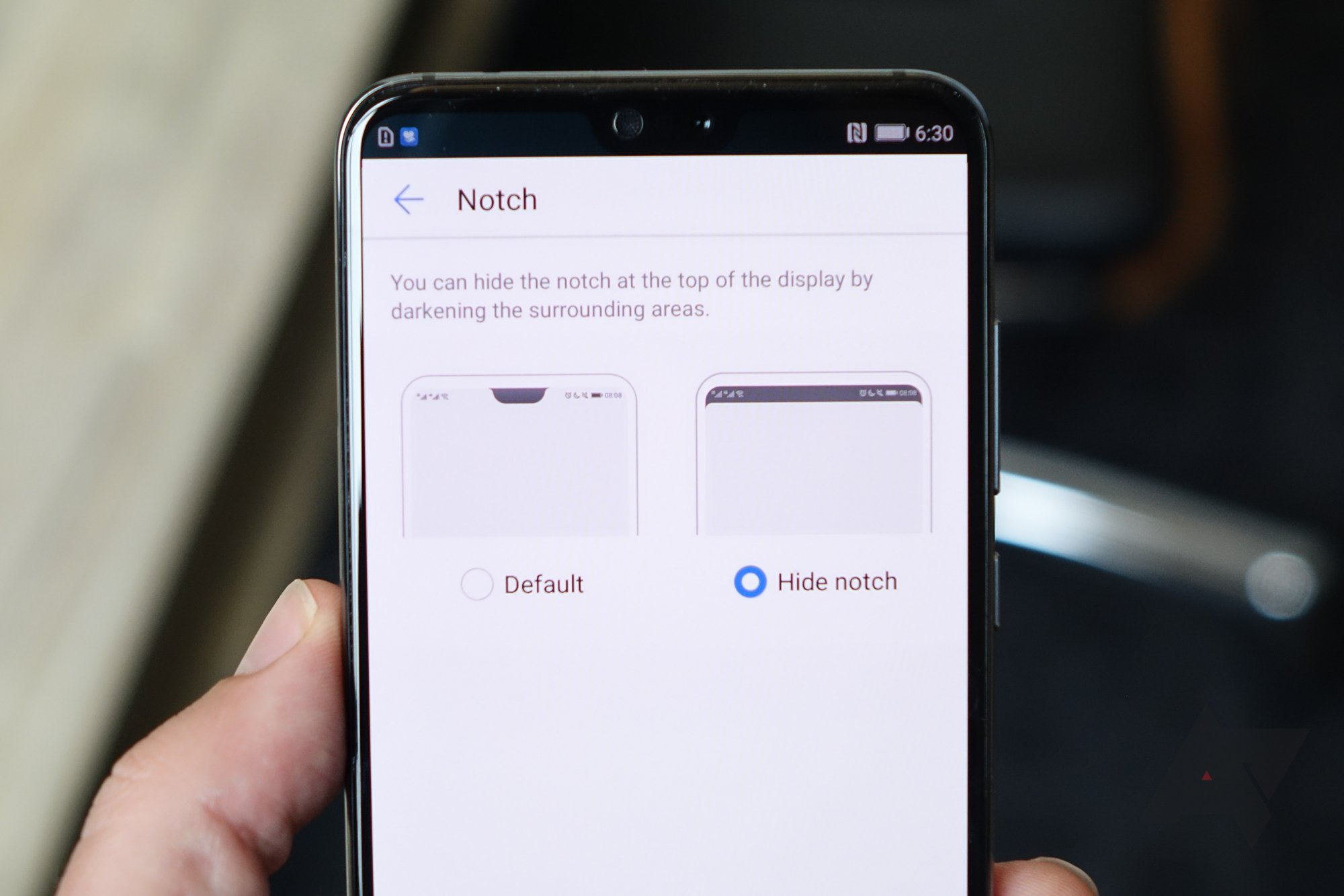 Hiding the Notch on Huawei P20 Pro