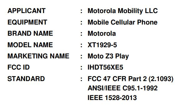 Moto Z3 Play on FCC