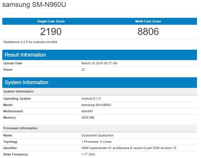Samsung Galaxy Note 9 on Geekbench