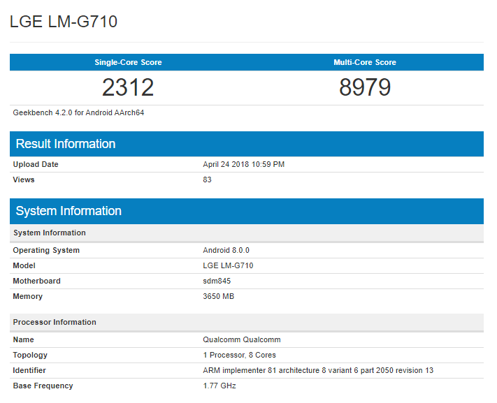 LG G7 ThinQ Geekbench Scores