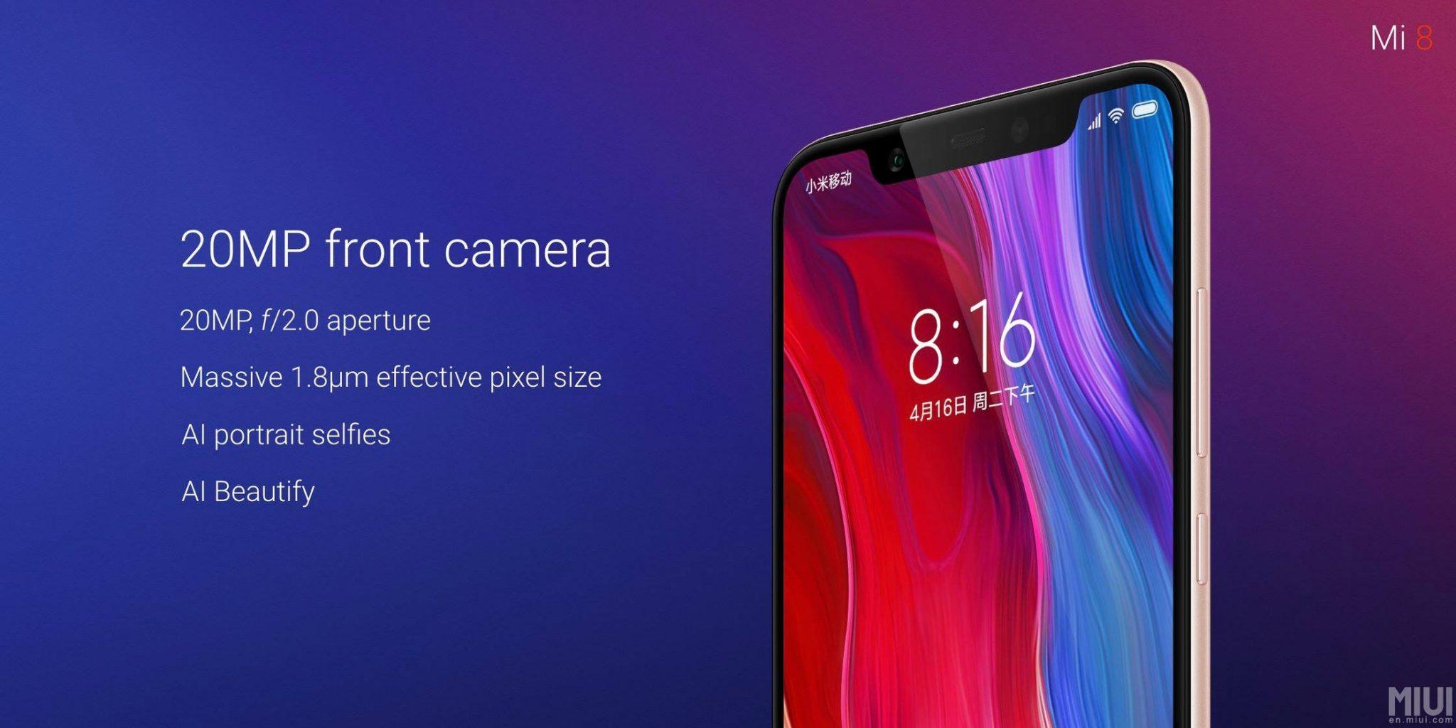 Xiaomi Mi 8 has a 20MP Front camera