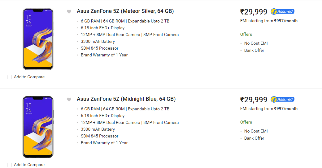Asus Zenfone 5Z Price