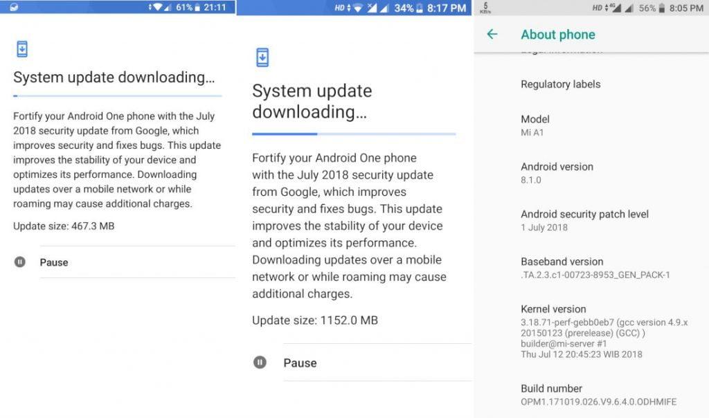 Xiaomi Mi A1 Android 8.1