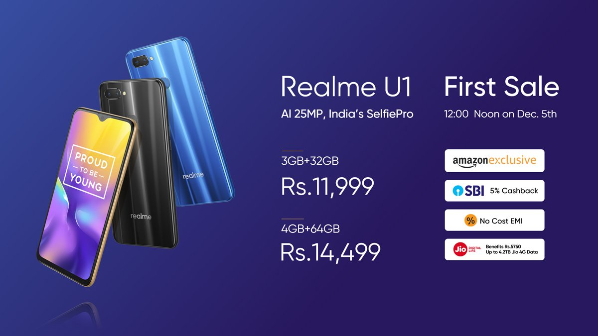 Realme U1 launched in India with Helio P70 & 25MP front camera