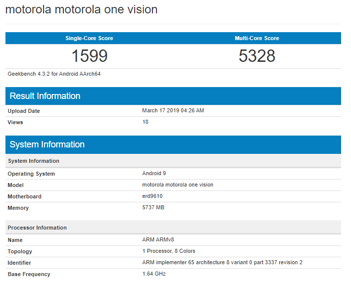 Motorola One Vision on Geekbench