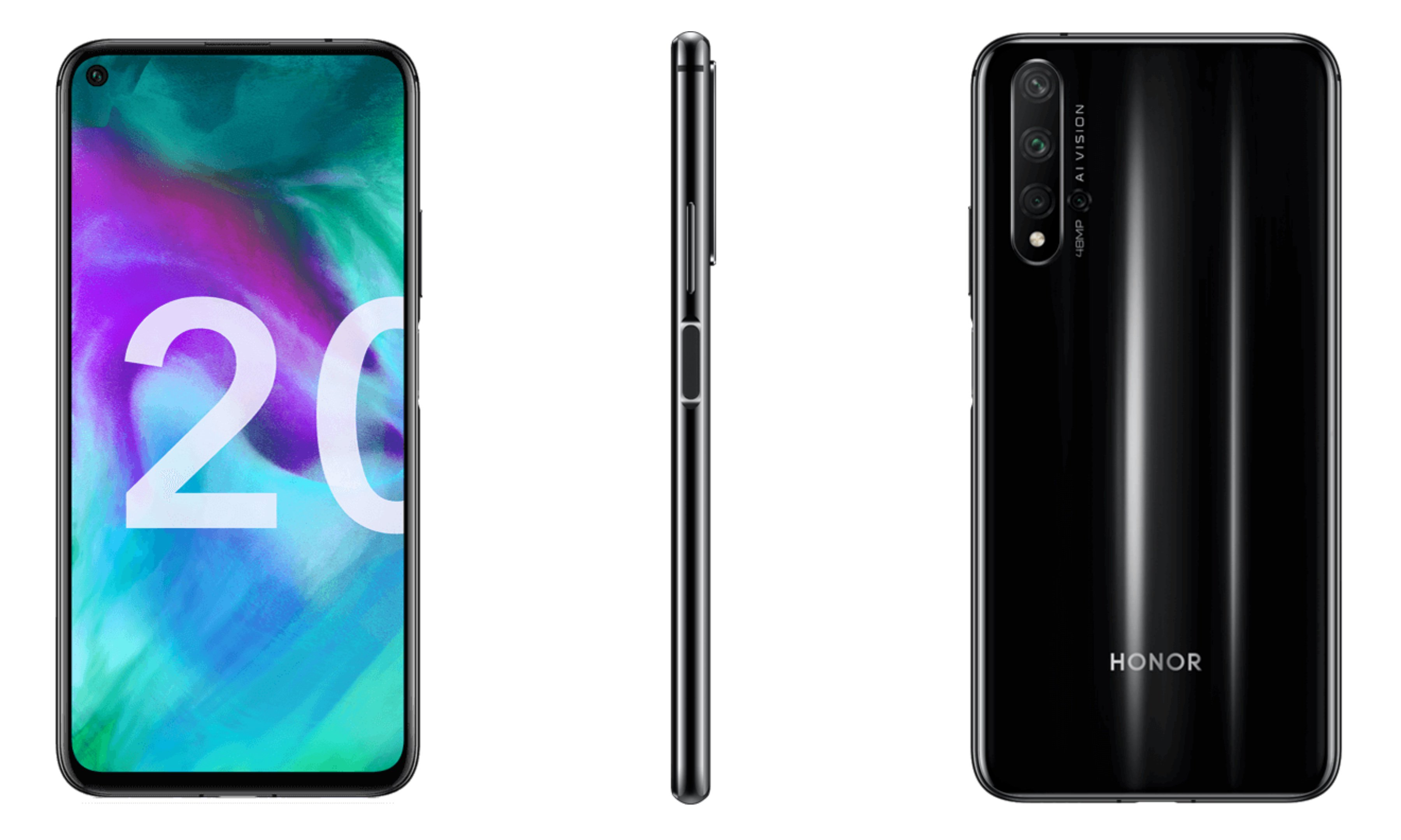 Honor 20 press renders reveal quad cameras & side-facing fingerprint scanner