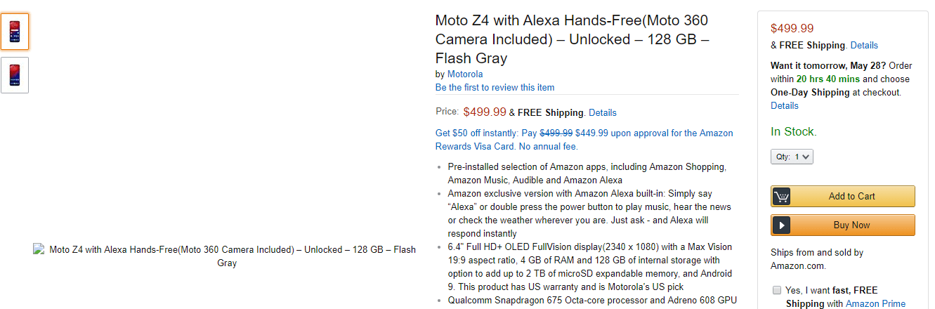 Moto Z4 on Amazon