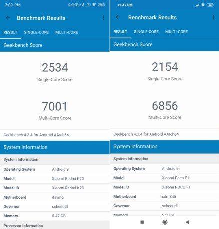 Snapdragon 730 vs Snapdragon 845 Geekbench Scores