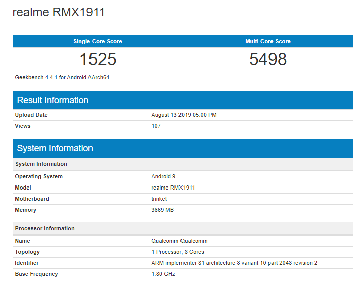Realme 5 on Geekbench