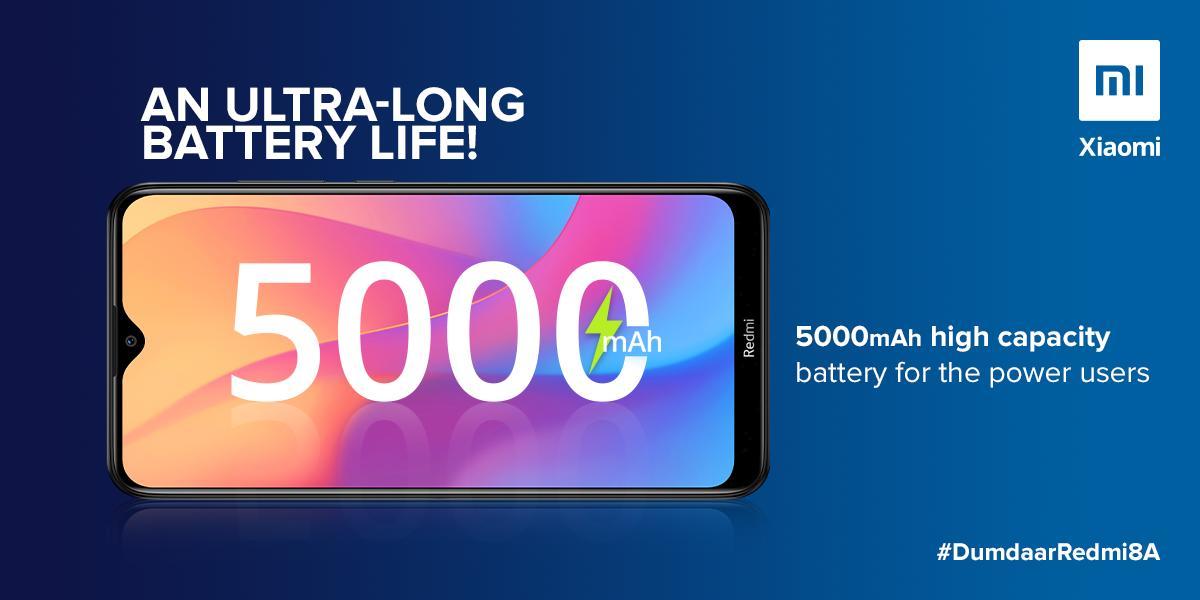 Redmi 8A has a 5,000mAh battery