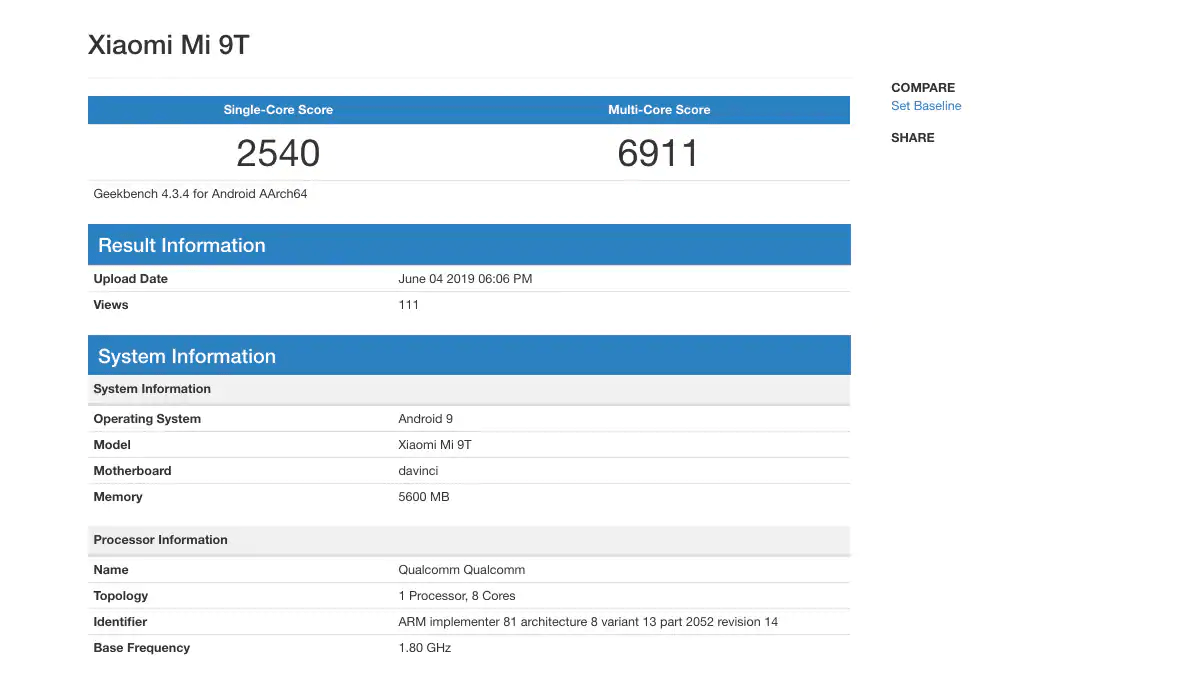 Snapdragon 730 Geekbench Score