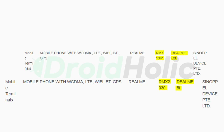Realme C3 & Realme 5i certified by IMDA