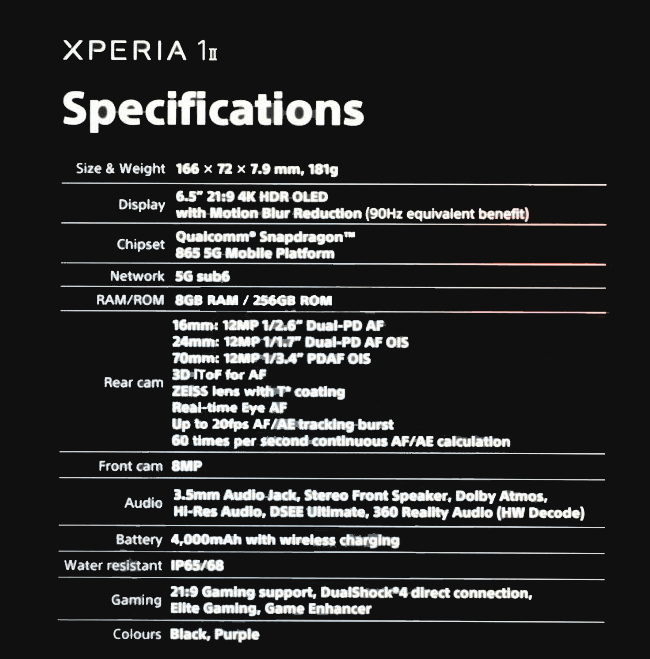 Sony Xperia 1 II Specifications