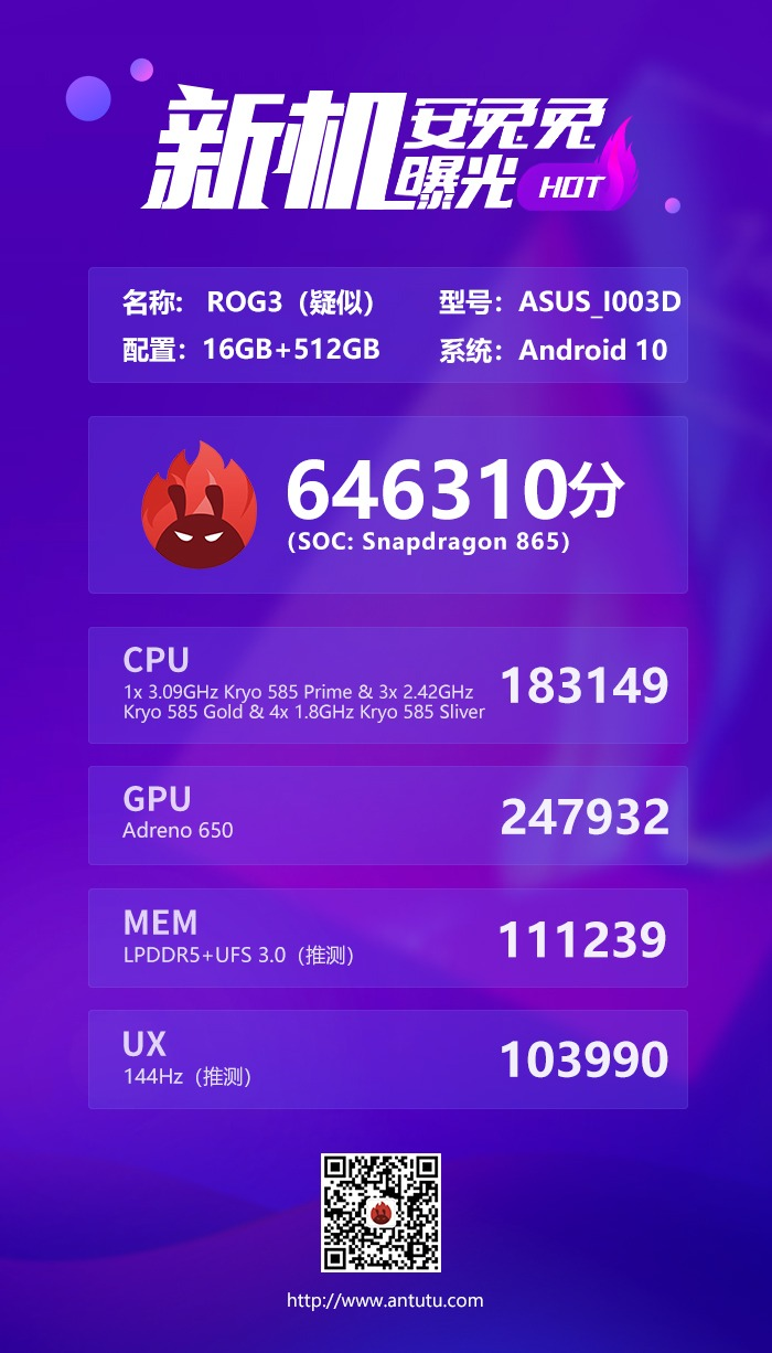 Asus ROG Phone 3 AnTuTu Benchmark