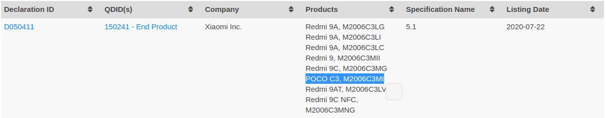 Poco C3 Bluetooth Certification
