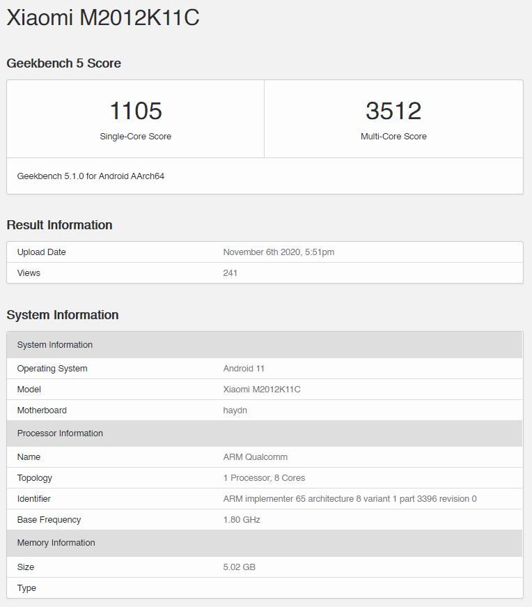 Snapdragon 875 Geekbench Score